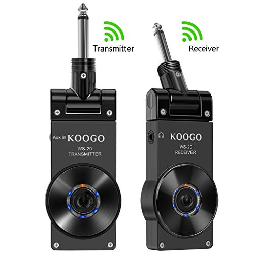 Koogo Guitar Wireless System with Rechargeable 2.4GHz Digital Guitar Transmitter and Receiver for Electric Guitar, Bass, Violin
