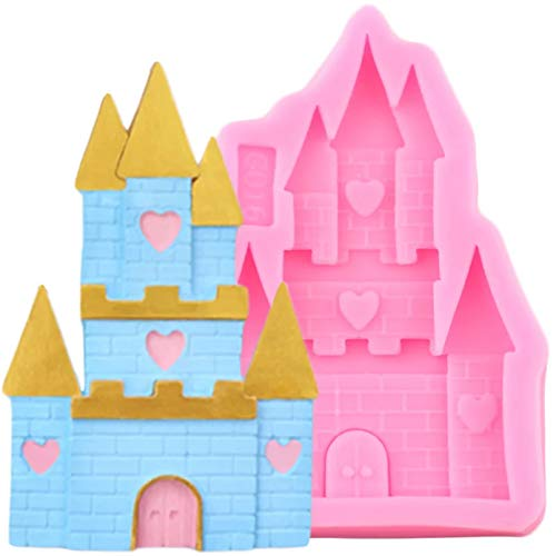 FGHHT Princess Castle Silicone Molds 3D House Fondant Mold DIY Birthday Cake Decorating Tools Candy Clay Chocolate Mould
