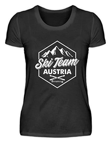 EBENBLATT Apres Ski Team Austria Skiurlaub Österreich Geschenk Geschenkidee für Ski Fahrer - Damenshirt -M-Schwarz