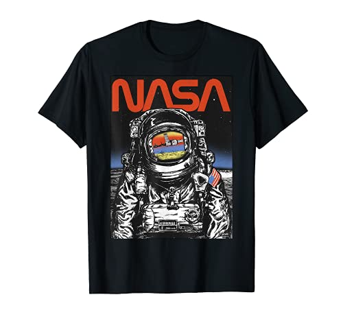 NASA Astronaut Moon Reflection Vintage Retro T-Shirt