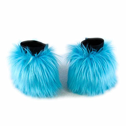Pawstar Furry Wrist Cuff Arm Warmers Made in USA Hand Covers Fluffies - Turquoise