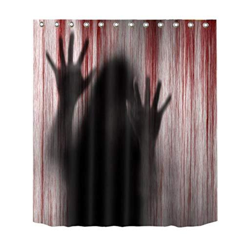 Cortina De Ducha De Horror De Halloween Del Fantasma De Sangre Huella De Mano De Reparto Cortina De Halloween Horror Spooky Sangre Que Fluye Temáticas De Impresión Cortina De Ducha De 150cm 1pc
