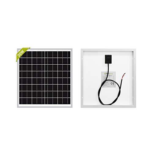Newpowa 20W(Watt) Solar Panel Monocrystalline12V High Efficiency PV Module for Rv Marine Boat Water Pump Off Grid