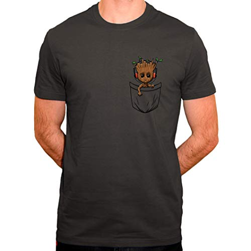 Tee Shirt Groot Pocket - Un Gardien de la Galaxie dans la Poche - T-Shirt Homme Bio Gris (XXL)