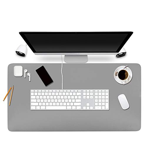 "BUBM Desk Pad Protector Office Desk Mat, Waterproof PU Leather Desk Writing Mat Laptop Large Mouse Pad Desk Blotters Desk Decor for Office Home, 35.4"" x 17"", Grey"