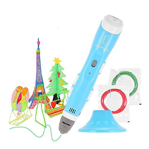 Aibecy Inteligente Impresión en 3D Pluma Impresora de dibujos sin obstrucciones con lapicera y cable USB Bono PLA/ABS Filamentos El mejor regalo para niños Adultos Artes Artesanía Bricolaje Azul