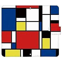 HUAWEI P30 lite ケース [デザイン:1.青×赤×黄/マグネットハンドあり] カラーブロック 手帳型 スマホケース カバー p30lite ファーウェイ p30lite