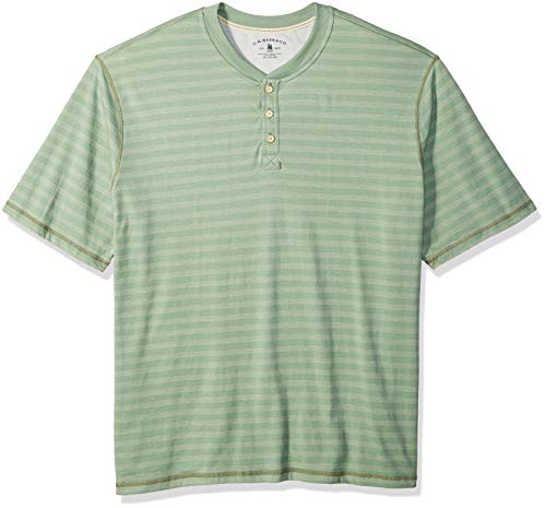 G.H. Bass & Co. Men's Tall Madawaska Short Sleeve Feeder Stripe Henley Shirt, Basil Heather, 3X-Large Big