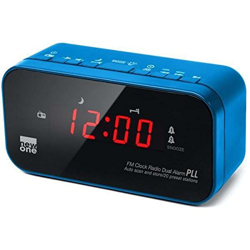 New One CR-120 digitales Uhren-Radio (UKW-Radio mit Senderspeichern, Dual-Alarm, Dimmer)