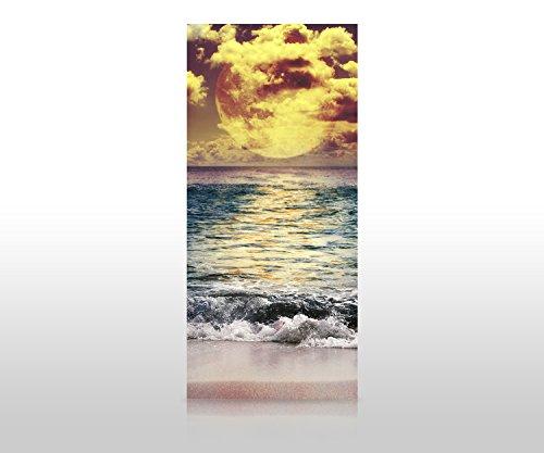 wandmotiv24 Duschrückwand Vollmond über dem Ozean 90 x 200cm (B x H) - Plexiglas 4mm Duschwand Design, Keine Fugen M0906