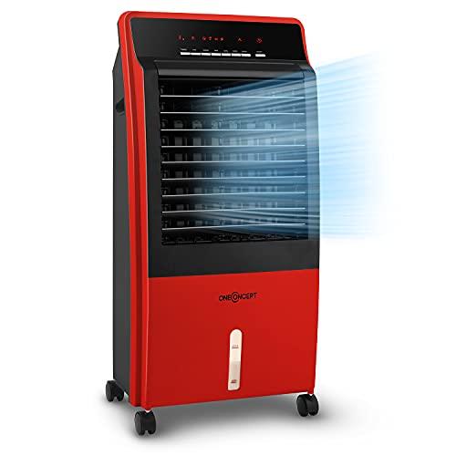 oneConcept CTR-1 – Enfriador de aire 4 en 1, Ventilador, Enfriador de aire, Humidificador, Limpiador de aire, Ionizador, Depósito de 8 L, Caudal de 360 m³/h, 65 W, Portátil, Mando a distancia, Carmesí