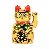 VIFERR Bienvenida del Gato, Gato Que Tienta Afortunado de Oro Grande Que Agita la Mano, Oro ángulo Afortunado Chino del Gato de la Buena Suerte Feng Shui Decoración