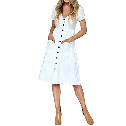 LAEMILIA Damen Sommerkleid Midikleid Knielang Partykleid mit Knopfleiste Kurzarm V-Ausschnitt Strandkleid Elegant Vintage Abendkleid mit Taschen