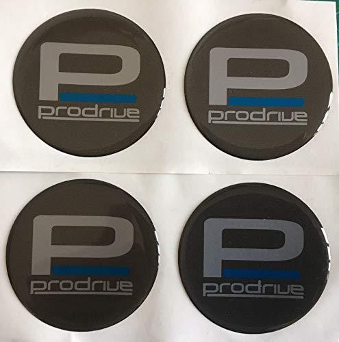 SCOOBY DESIGNS Prodrive Lot de 4 cache-moyeux autocollants en plastique bombé Gris anthracite 50 mm