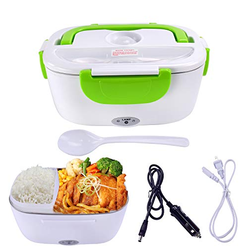 Mozing Electric Lunch Box Protable Food Warmer Heated Lunch Box For Car Truck Home Work Dual Use Removable Stainless Steel Container Multifunction Food Heater Portable Microwave 110V & 12V 40W,Orange