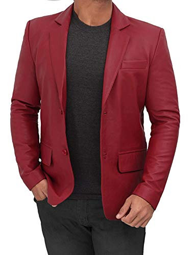 Maroon Mens Blazers and Sport Coats - Leather Blazer for Men Jacket | [1507095] Blazer, XL