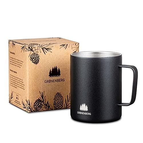 Groenenberg Taza de acero inoxidable de 350 ml, taza de café de doble pared con efecto térmico, color negro mate, taza de café exterior con doble pared