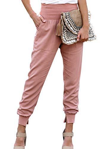 GOSOPIN Dame Freizeithose OL Pants Frauen Hose elastisch Pumphose mit Seitentaschen Haremshose Baggy Hosen Pink M