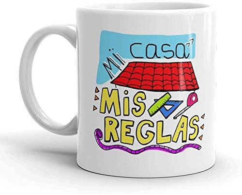 Kembilove Taza de café para Mamá – Taza de Desayuno Graciosas para Madres con Mensaje Mi casa, mis reglas – Ideal para regalar el día de la Madre