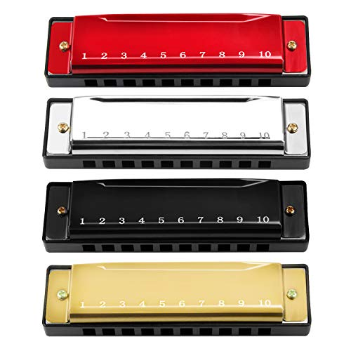 4PCS Key of C 10 Hole 10 Tones Titanium Color Harmonica with Case for Beginner Students Kids (Gold, Silvery, Black, Red)