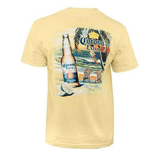 Corona Extra Beach Scene Tee Shirt Large Yellow