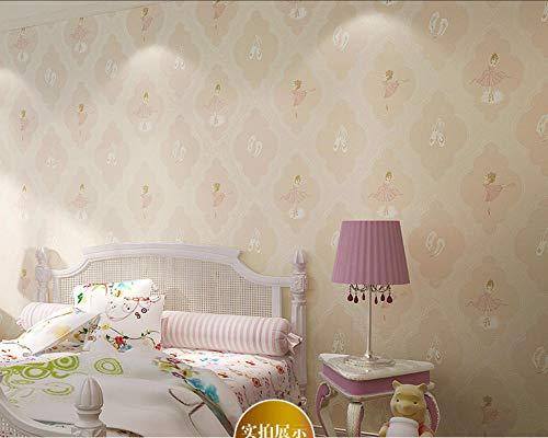 Modern Mode Non-Woven Wallpaper - Verdikte Cartoon Ballerina Girl,0.53x10m Behang voor Restaurant Woonkamer TV Achtergrond Decor Behang Dikke Home Decor Lichtgeel