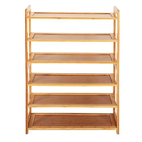 Zapatero de bambú para almacenamiento, organizador de zapatos de 6 niveles, ahorro de espacio, para entrada, sala de estar, pasillo, fácil instalación, estante para zapatos, resistente y duradero