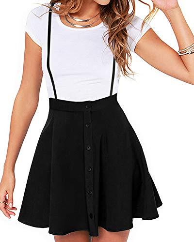 YOINS Rock Damen Mädchen Minirock Kawaii A Linie Mini Skater Rock Kleider für Damen Minikleid Skaterkleid Taste-schwarz S