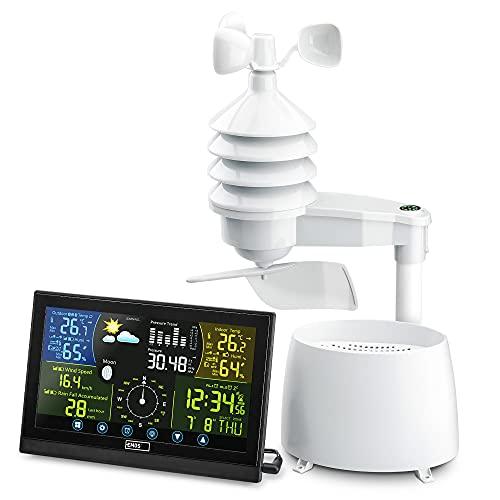 Emos Profi Wetterstation Funk mit Touchscreen Farbdisplay, inkl. Außensensor, DCF Empfangssignal Funkuhr - Innen- und Außentemperatur, Wettervorhersage, mit drahtlosen Regenmesser & Windmesser