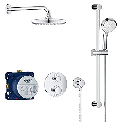 GROHE 34745000 Grohtherm Cube Shower Set with Tempesta 210, Starlight Chrome