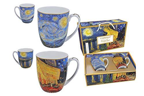 Carmani eleganter Becher Tasse Porzellan Vincent Van Gogh Sternennacht & Cafeterasse am Abend 2er Set incl. dekorativer Geschenkbox