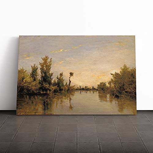 BIG Box Art Leinwandbild Charles-Francois Daubigny Ufer der Seine Wandkunst Wandbild Wand, Mehrfarbig, 24x16 Inch