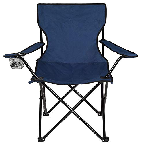 DeveSouth Outdoor Camping Chair Padded Quad Rod Arm Chair Collapsible Steel Frame Portable Foldable Wide Back Chair with Cup Holder Lightweight Backpacking for Beach, Supports 300 lbs (Navy Blue)
