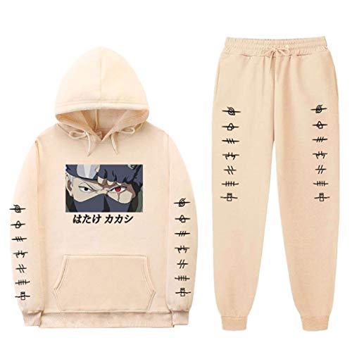 SAFTYBAY Moletom unissex Naruto com capuz e calça de moletom Hatake Kakashi terno masculino feminino anime moletom com capuz, 7 cáqui, 3XL