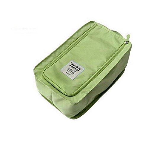 Ducomi® Wanna be a Traveler - Portascarpe in Nylon Impermeabile e Traspirante da Viaggio - Custodia per Calzature - Dimensioni: 32 x 21 x 14 cm (Green)