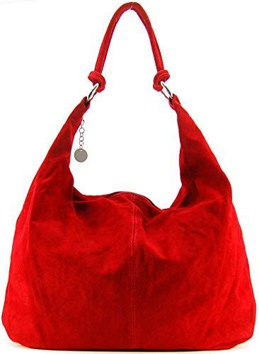 OH MY BAG, borsa modello Love-in vera pelle di vitello nubuck-portato, spalla e mano, made in Italy, per donna, il must have di quest'autunno inverno, taglia unica, (rosso chiaro), Taglia unica