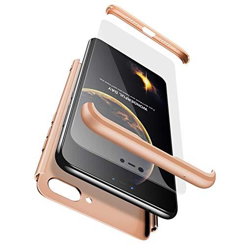 GoodcAcy Hülle Kompatibel mit Xiaomi Mi A1 with Panzerglas Schutzfolie,360 Grad R&umschutz 3 in 1 PC Superleichte Handyhülle Schutzhülle Hüllen Tasche Bumper Cover für Xiaomi Mi A1 Gold