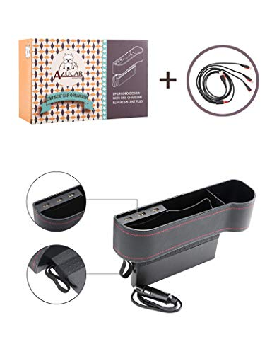 Azucar Car Passenger Seat Gap Organizer with 3 USB Charging Ports & 3 in 1 Charging Cable, Gift Pack