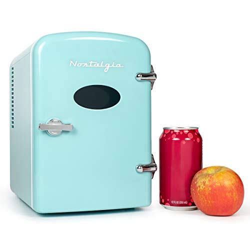 Nostalgia RF6RRAQ Retro 6-Can Personal Cooling and Heating Mini Refrigerator with Carry Handle for Home Office, Car, Boat or Dorm Room-Includes AC/DC Power Cords, Aqua