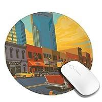 アメリカン ヴィンテージ風 かわいい マウスパッド丸型 ステッチされたエッジ 個性的 ゴム製裏面 ゲーミングマウスパッド Pc ノートパソコン オフィス用 円形 デスクマット 滑り止め 耐久性が良い おもしろいパターン