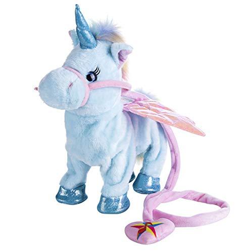 Zingen En Wandelen Paard Elektronische Gevulde Robot Pop, Paarden Elektronische Knuffels, Kinderen Verjaardag Kerstcadeau 35Cm (Blauw)