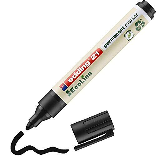 Edding 21 EcoLine marcador permanente - negro - 1 rotulador - punta redonda 1.5-3mm - indeleble de secado rápido - resistente al agua y los borrones - cartón, plástico, madera, metal, tela - u
