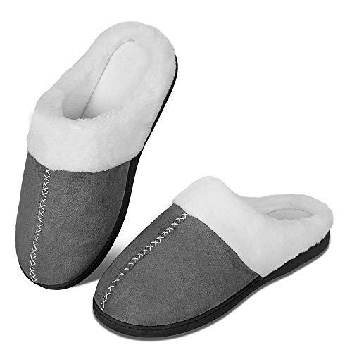 Pantuflas de Invierno para Hombre y Mujer, con Espuma viscoelástica, cómodas, Antideslizantes, para Interior y Exterior(szlb.Gris Oscuro,38/39 EU)