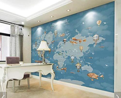CFLEGEND 3D Wallpaper (selbstklebend) Fototapete Luftballon Flug dunkelblau Weltkarte Kinder Hintergrund dekorative Wandaufkleber wasserdicht PVC (B) 250x (H) 175 cm | 5 Streifen