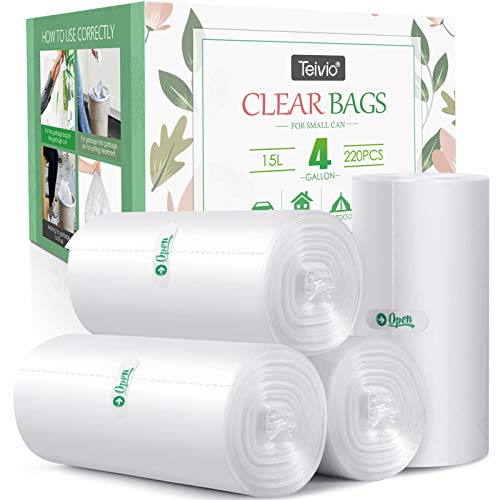 4 Gallon 220 Counts Strong Trash Bags Garbage Bags, Bathroom Trash Can Bin Liners, Small Plastic Bags for home office kitchen, fit 12-15 Liter, 3,3.5,4.5 Gal, Clear kitchen, Clear