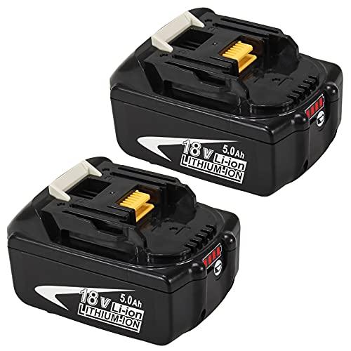 Powayup 2 Piezas BL1850B Batería de Repuesto para Makita 18V 5.0Ah Batería de Iones de litio BL1850B BL1850 BL1860B BL1860 BL1840B BL1840 BL1830 BL1835 BL1845 194204-5 LXT-400 con Indicador LED