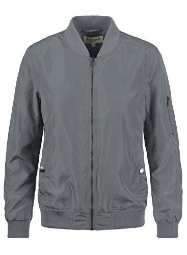DESIRES Temari Damen Bomberjacke Übergangsjacke Jacke mit Stehkragen, Größe:S, Farbe:Mid Grey (2842)