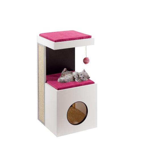 Ferplast 74055021 Katzenmöbel Diablo, aus Holz und mit Kratzfläche, Maße: 40 x 40 x 80 cm
