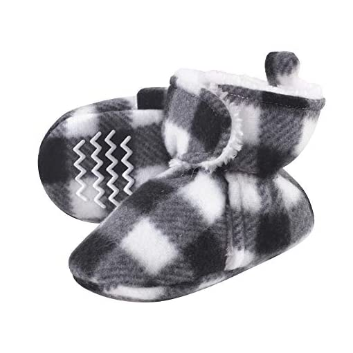 Hudson-baby-Cozy-Sherpa-Booties-with-Non-Skid-Bottom-Black-and-White-Plaid-Casual-Sock