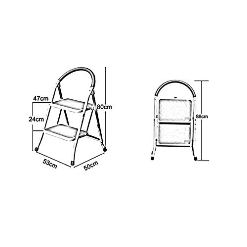 GBX Taburete, Taburete de escalera familiar plegable de 2/3 escalones Taburete de escalera, portátil de hierro resistente con escaleras antideslizantes, naranja, 2 pisos